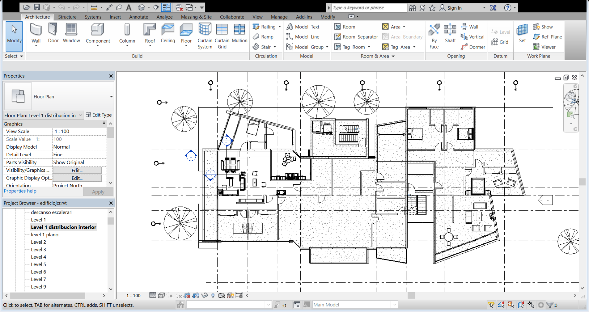 planta nivel 1 | Curso Revit Architecture