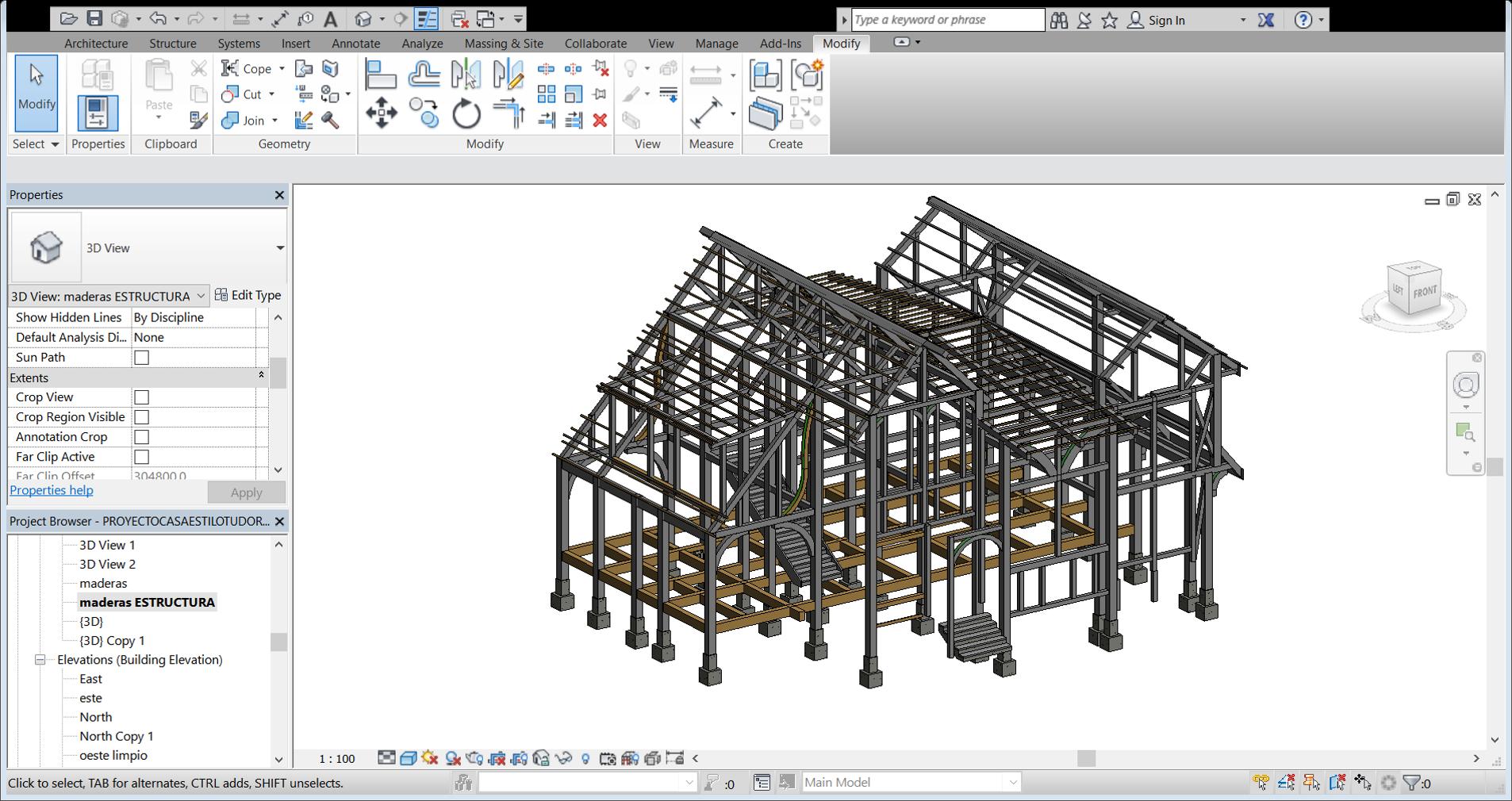 Vista 3d Estructura de madera | Curso Revit Structure